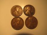 US Coins: 4x1920 Wheat Pennies