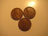US Coins: 3x1924 Wheat Pennies