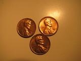 US Coins: 3xBU/Very clean 1964-D pennies