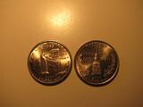 US Coins: 1xUNC 2000-P New York & 1xUNC 2000-P MarylandQuarters