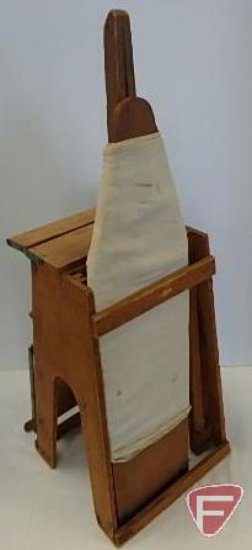 Salesman's sample-combination wooden ironing board and step stool,