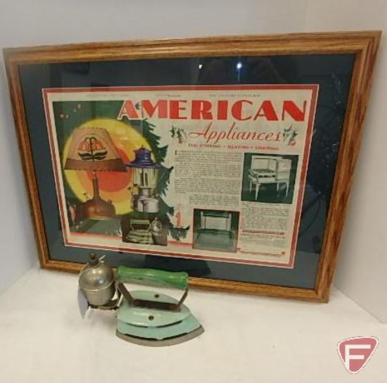 Albert Lea MN gas iron No.66 and ad from American Gas Machine Company 20inH x 26inL
