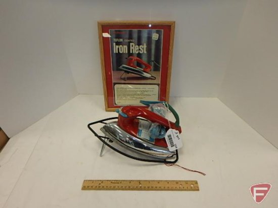 GE Dry iron with rest and advertising picture 13inHx10inW