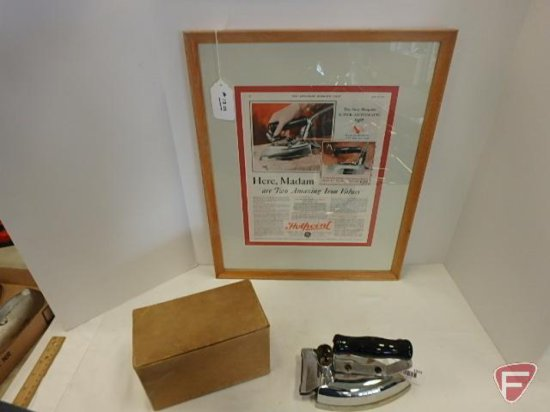 GE Hotpoint Calrod Model R electric iron, No 139F61, with box, and