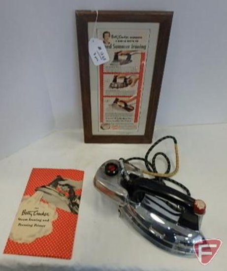 Betty Crocker Tru-Heat Iron and steam ironing attachment, with instruction booklet and