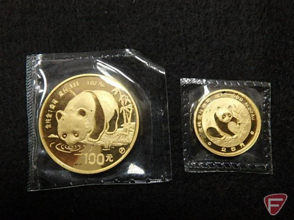China Panda gold coins; 1987-large one is 1 oz au.100. Small one is 1/4 oz au 25 1988