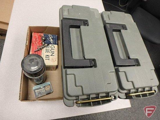 Cabela's plastic ammo boxes (2), Rem action cleaner, pellet