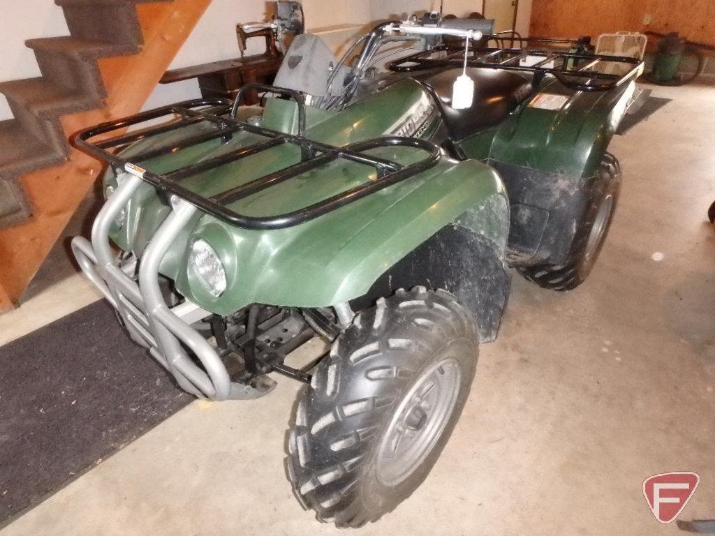 2001 Yamaha Big Bear 400 ATV/all terrain vehicle, operators manual, and camo cover