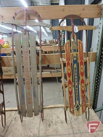 2 Vintage Wood Sleds With Metal Framesrunners Royal Racer 54inl