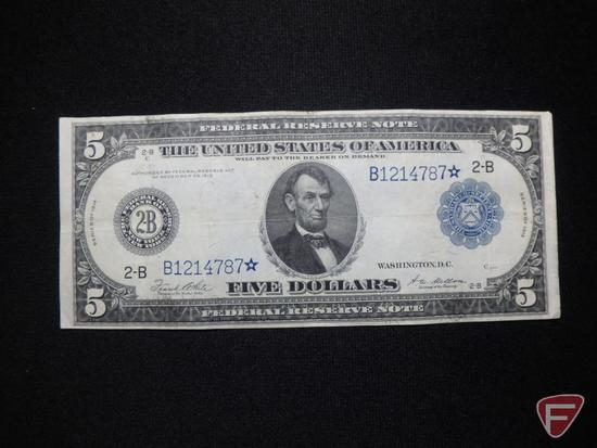 1914 $5 Federal Reserve Note horse blanket 2-B star note VF