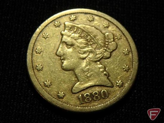 1880 S $5 Liberty Gold F