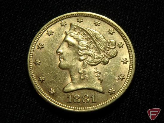 1881 $5 Liberty Gold AU, possibly cleaned