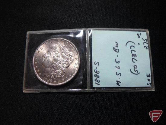 1888 S Morgan Silver Dollar unc. with light toning