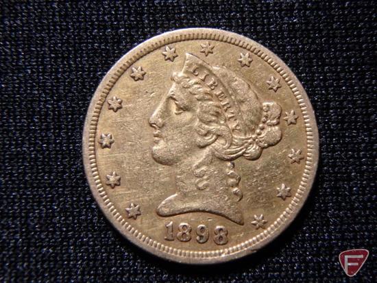 1898 $5 Liberty Gold U.S. coin VF