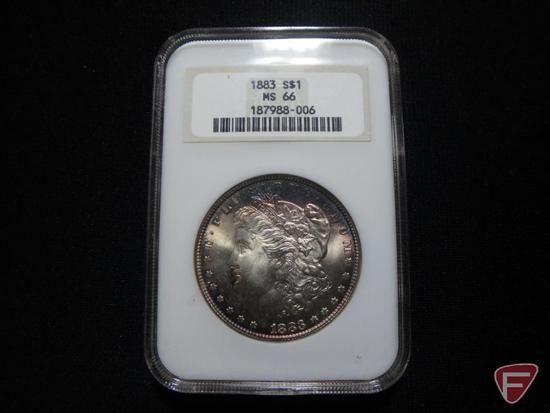 1883 NGC Graded MS66 Morgan Silver Dollar pretty cobalt peripheral toning over whole coin
