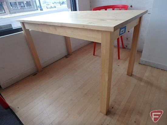 Wood butcher block style dining room table | Industrial ...