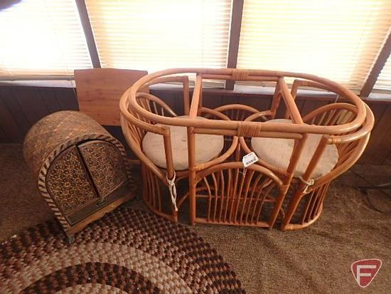 (2) wood chairs, matching table, tv tray table, and wicker shelf- table is missing glass