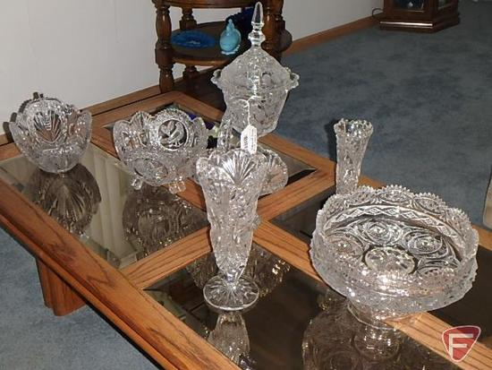 Crystal dishes, bowls, vases with bird design