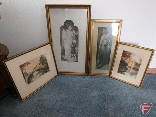 (4) framed vintage pictures: woman and child, (2) water village scene, and religious guardian angel