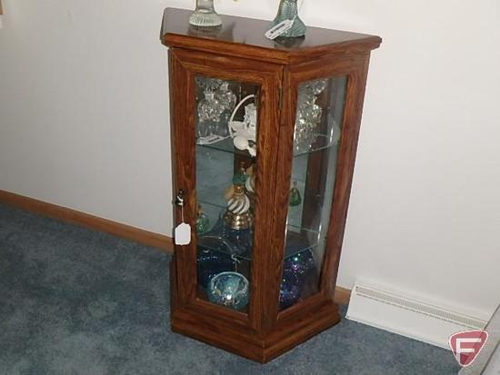 """1 door cabinet lighted with mirrored back and glass shelves, 11""""x24""""x37""""H"""