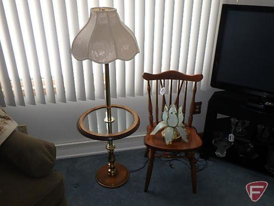 Table lamp, wood chair and floor/end table lamp
