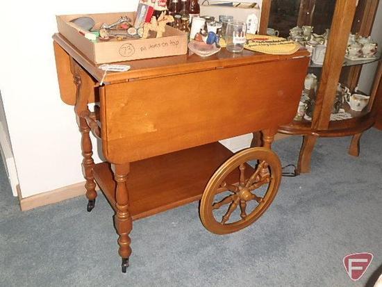 Wood tea cart with drop leaves