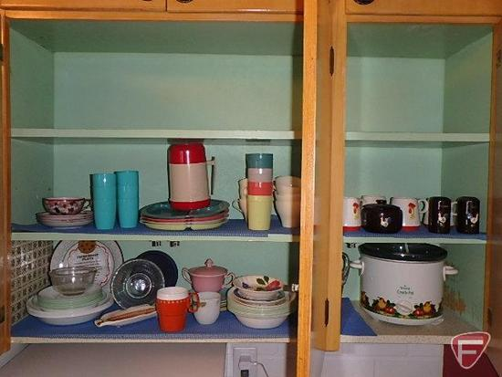 Contents of cuphord: Holt Howard mugs, Rival crock pot, plastic picnic dishes, Corelle dishes,