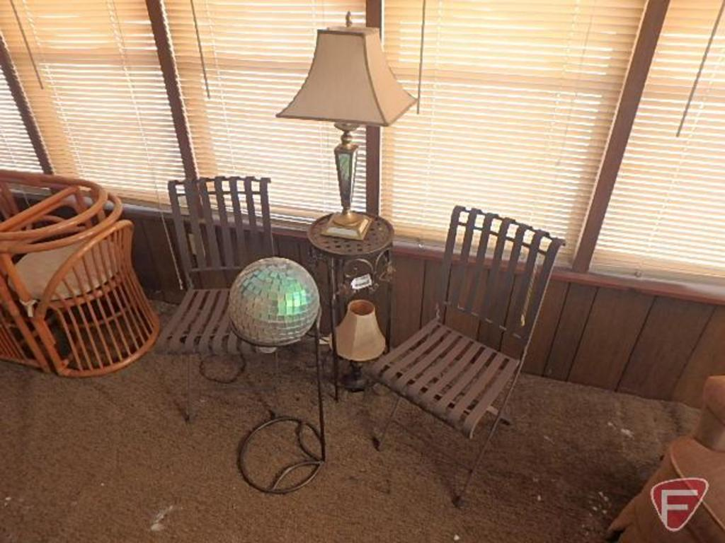 Patio set(2) metal garden chairs, table, mirrored gazing ball, and (2) lamps