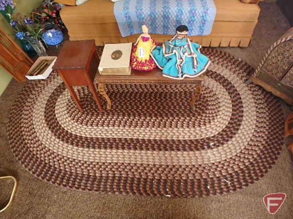 (2) end/coffee tables, (2) dolls and oval braided rug