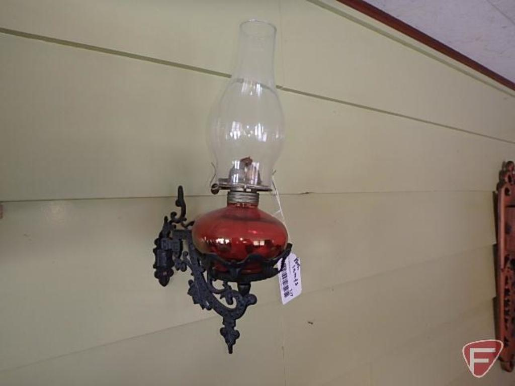 (2) oil lamps with wall brackets