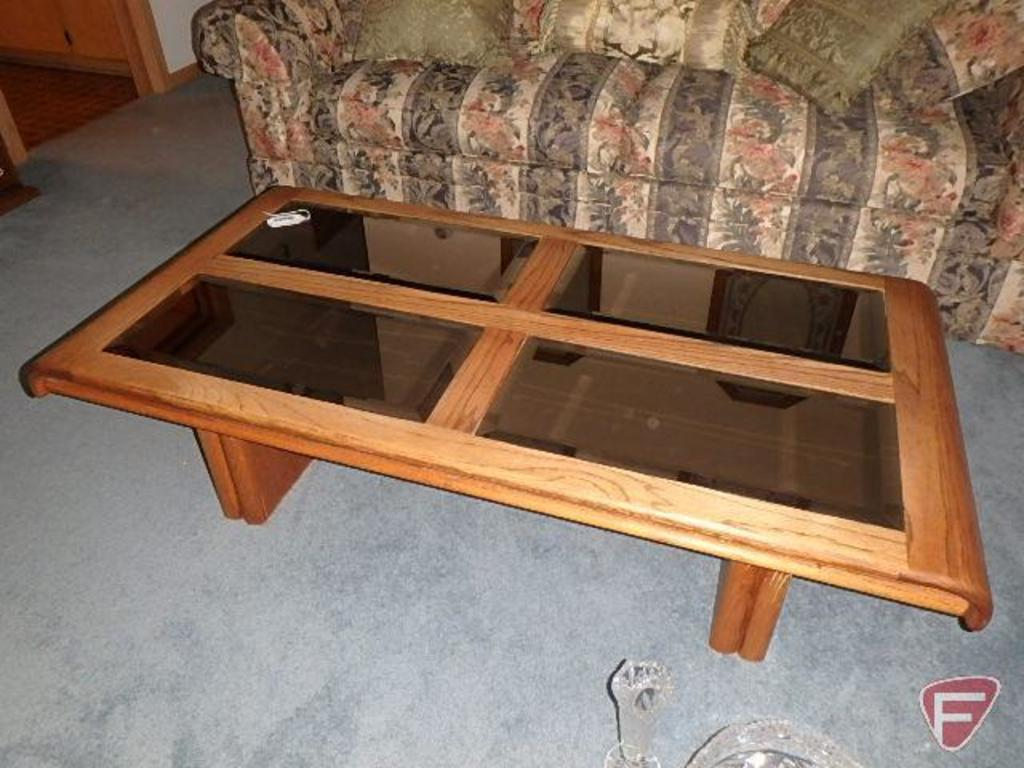 """Wood and beveled mirrored table, 55""""x28""""x15-1/2""""H"""