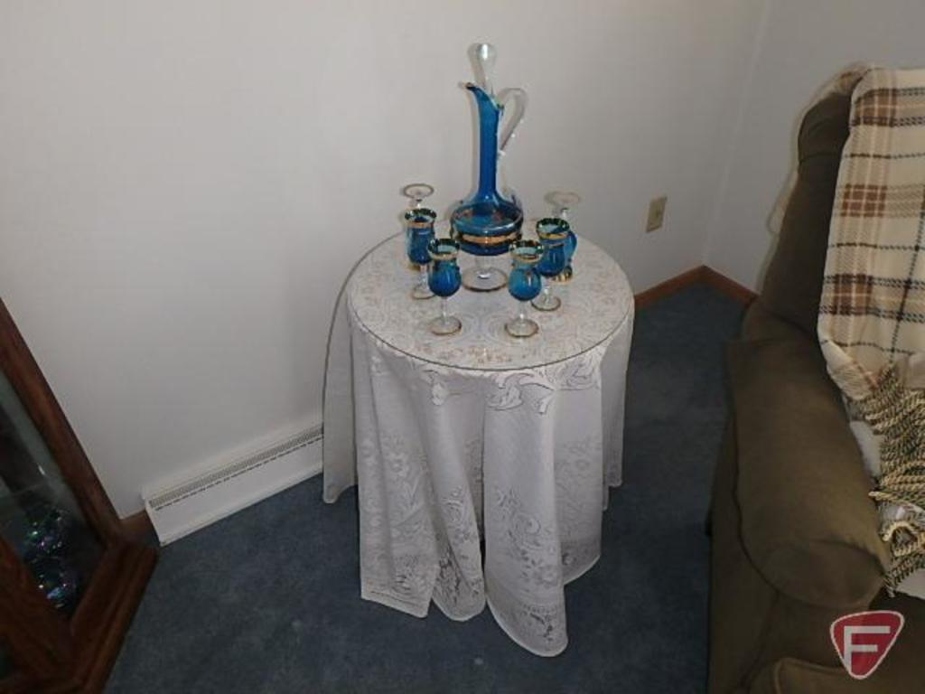 7 piece cordial set with glass top end table