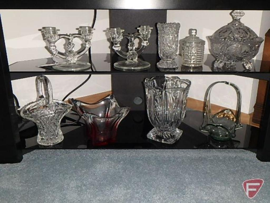 Glassware: candle holders, vases, dishes