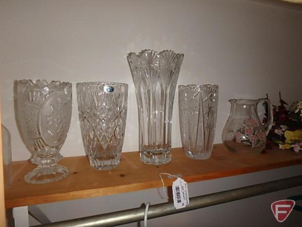 Bohemia vases and other glass vases, pitcher, artificial flowers, and glass prisms