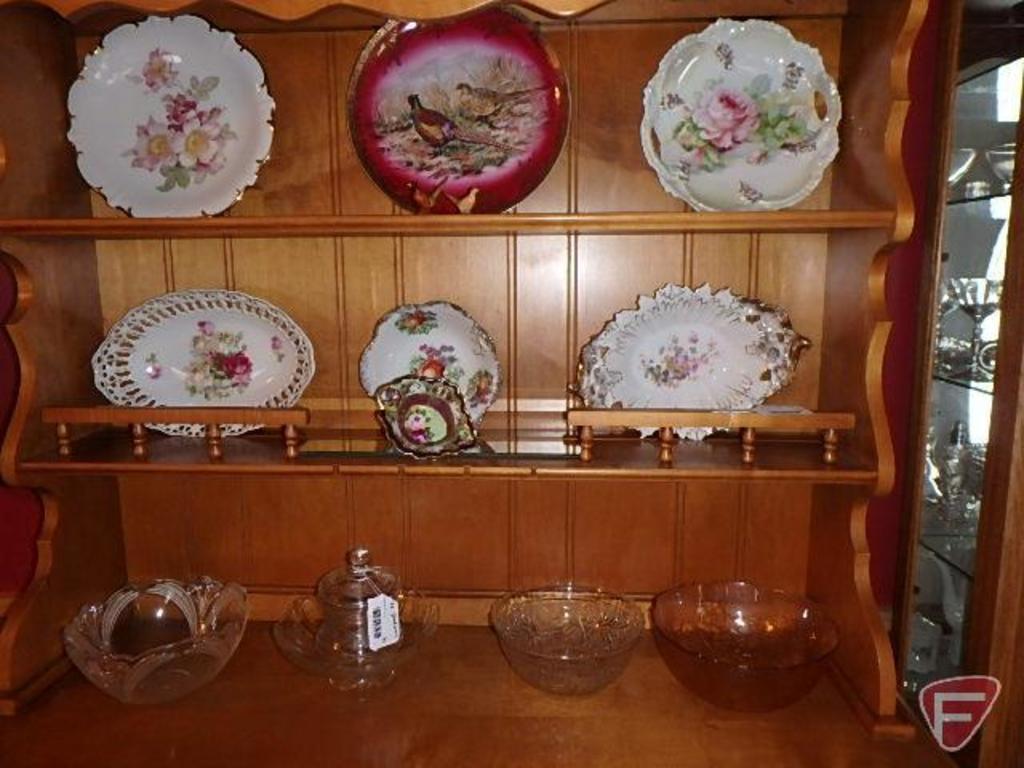 Bowls plates, bonbon dish, Rosemeade pheasant salt and pepper, and glass dishes