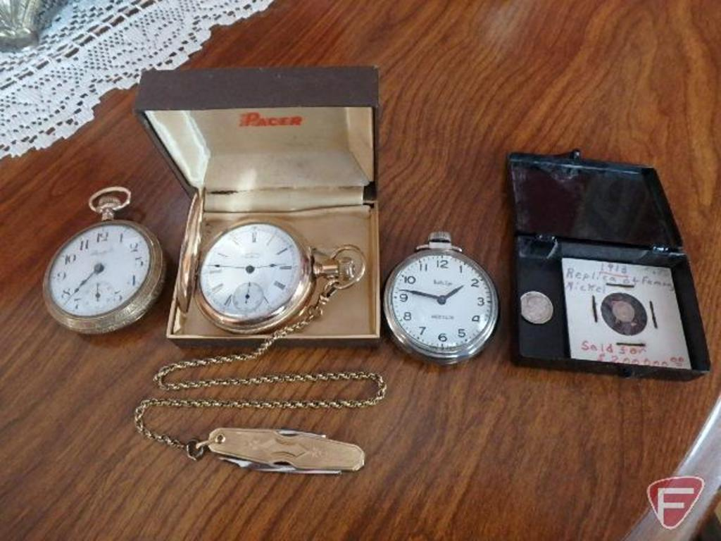 (3) men's pocket watches: Westclox Bullseye, Standard, and one with chain and jack knife is Waltham;