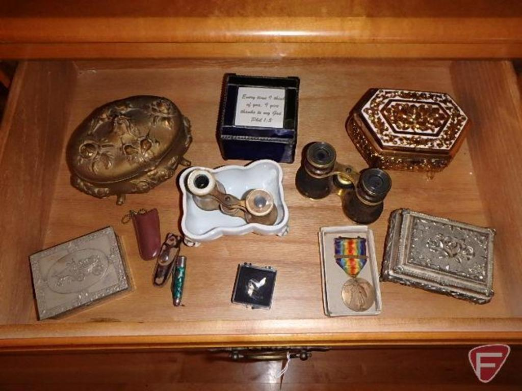 Winchester belt buckle, Mini Gasco Lamplighter pin, jack knives, binoculars, and trinket boxes
