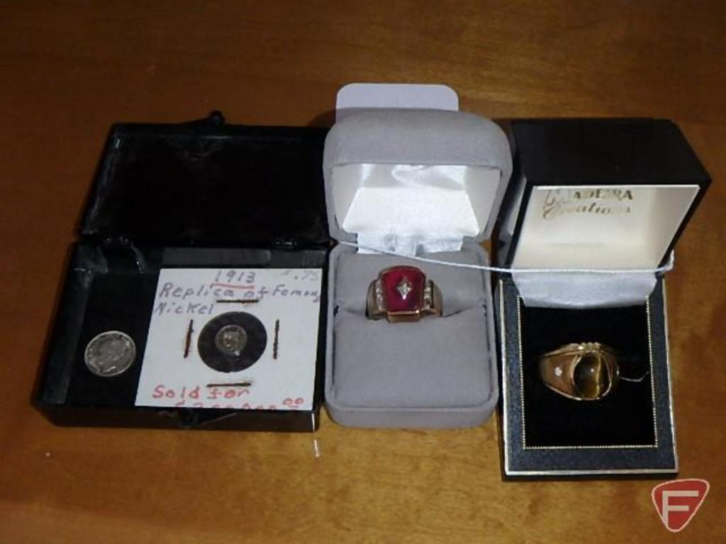 (2) men's rings: tiger eye marked 18K and other unmarked