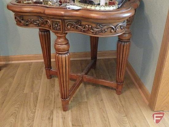 Occasional/End Table with detailed ornate cherry finish