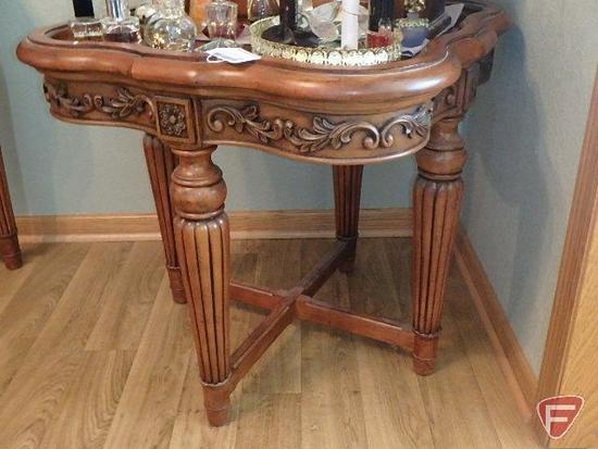 Occasional/End Table with detailed ornate cherry finish, table only