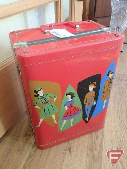 Luce Barbie suitcase, red, Midge Barbie by Matel and doll clothes