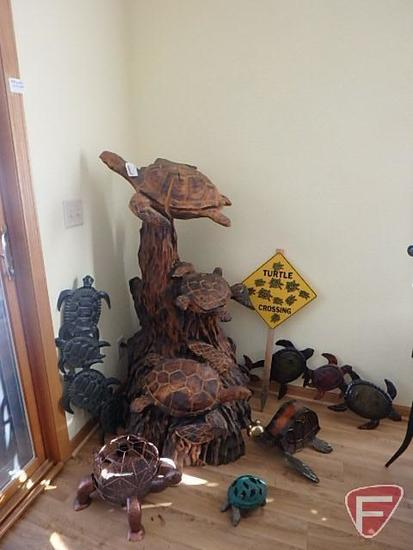 Wood turtle statue, approx 51inh x 24inw and various brass and metal turtles