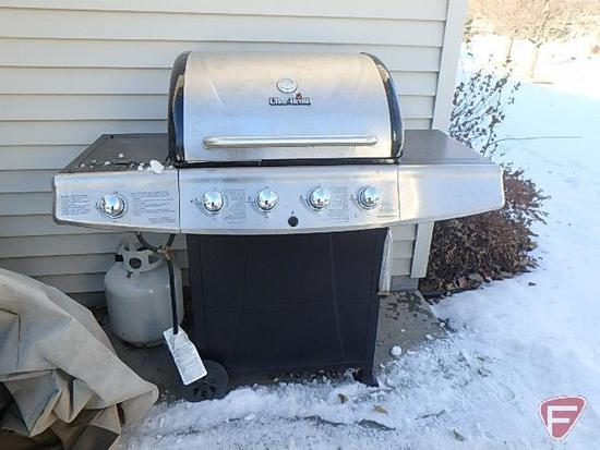 Charbroil gas grill model 463210310, 4 burner with side burner and tank