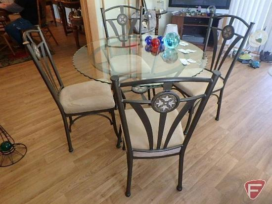 Glass top metal patio set with table and 4 metal chairs