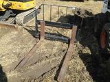 Set of Tomahawk pallet forks--fits skid loader