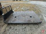 8' steel flatbed with headache rack, fits dually, came off of Ford