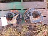PAIR OF 9 BOLT REAR AXLE MOUNT DUAL HUBS 3 1/2