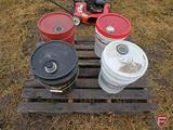 4-5 GAL PARTIAL BUCKETS OF HYDRAULIC OIL, MOBIL 424 , CASE HY TRAN ULTRA, CASE GEAR LUBE
