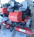 Jacobson Greens King IV tri-plex 2WD gas reel mower, with rolling head attachments, 4,851 hrs