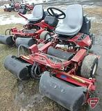 Toro 3100 Greensmaster 2WD gas reel mower, 3 gang, grass collection baskets, 4,393 hrs showing
